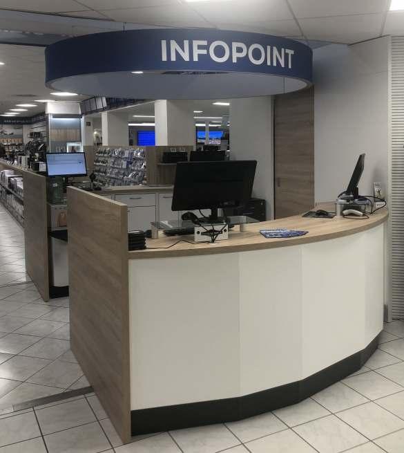 Der Infopoint ist die zentrale Anlaufstelle für den Kunden.