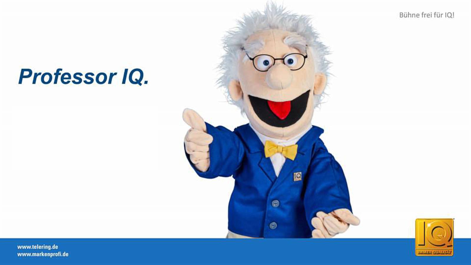 Der nimmermüde telering-Qualitätsbotschafter Professor IQ ist auch 2020 für den stationären Fachhandel engagiert im Einsatz.