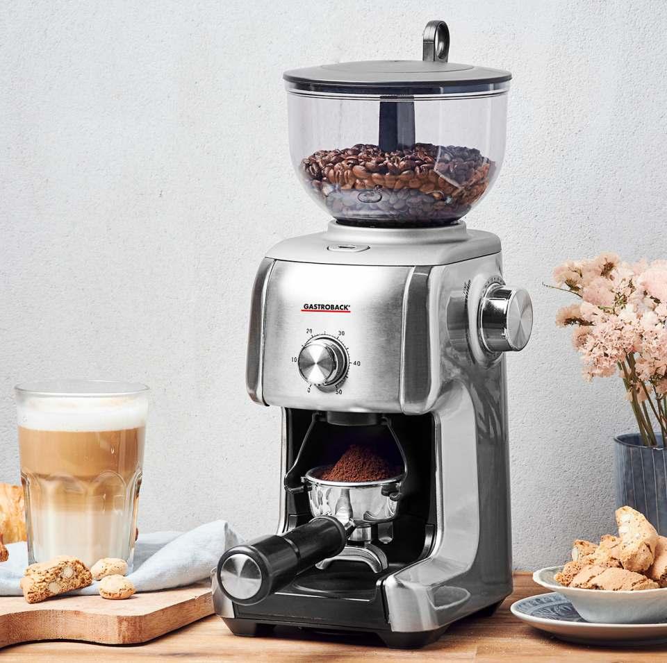 Gastroback Kaffeemühle Design Advanced Plus mit 16 Mahlgradeinstellungen.