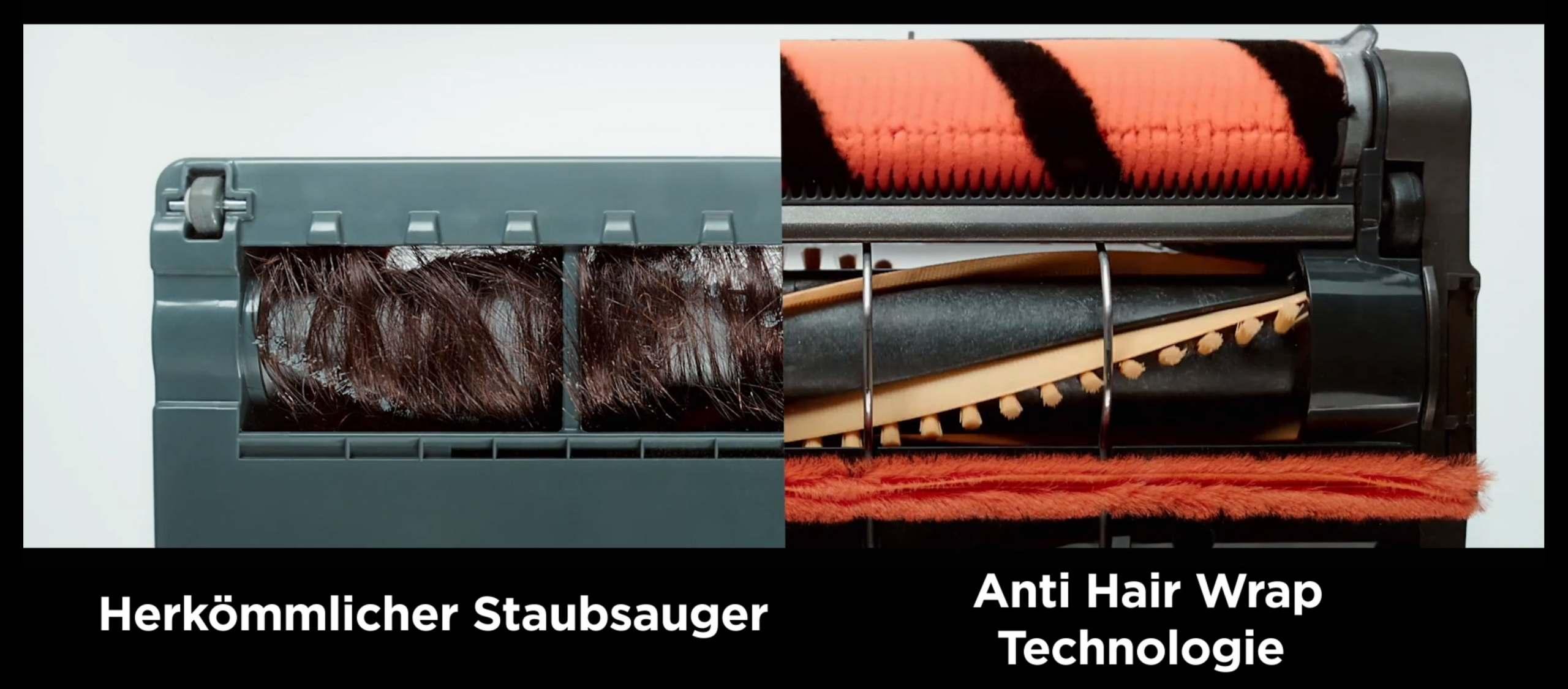"""Von der Rolle: Die """"Anti-Hair-Wrap""""-Technologie sorgt dafür, dass sich während der Reinigung keine (Tier-)Haare in den Bürstenrollen verfangen."""