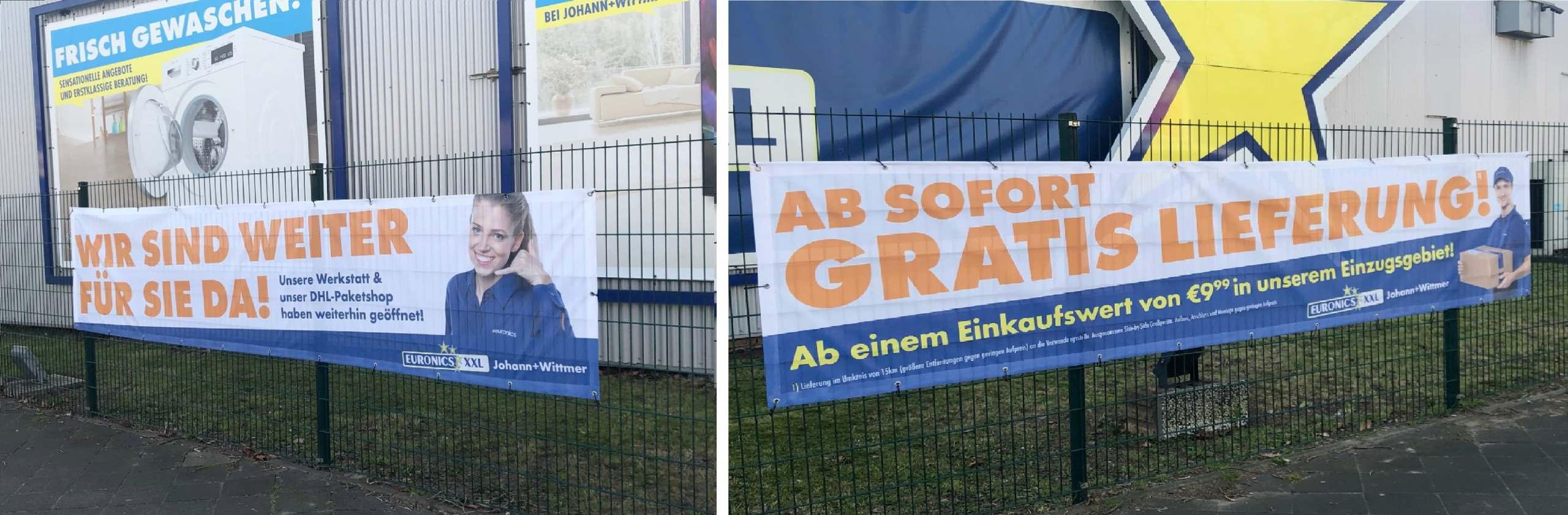 Die Plakate bei Euronics XXL Johann+Wittmer transportieren klare Botschaften in puncto Erreichbarkeit und Lieferung.