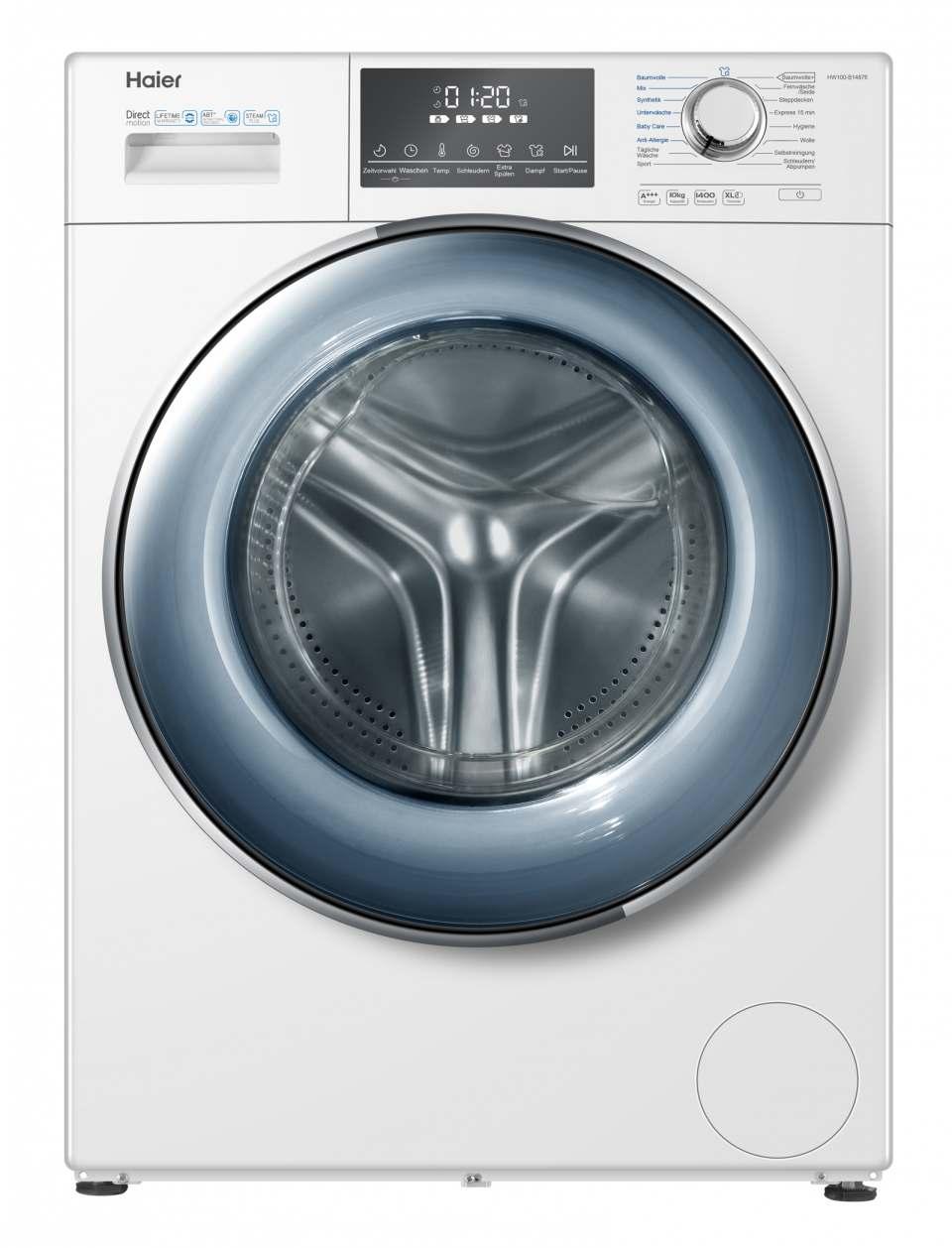 Haier Waschmaschine HW100-B14876 mit 10 kg Fassungsvermögen.