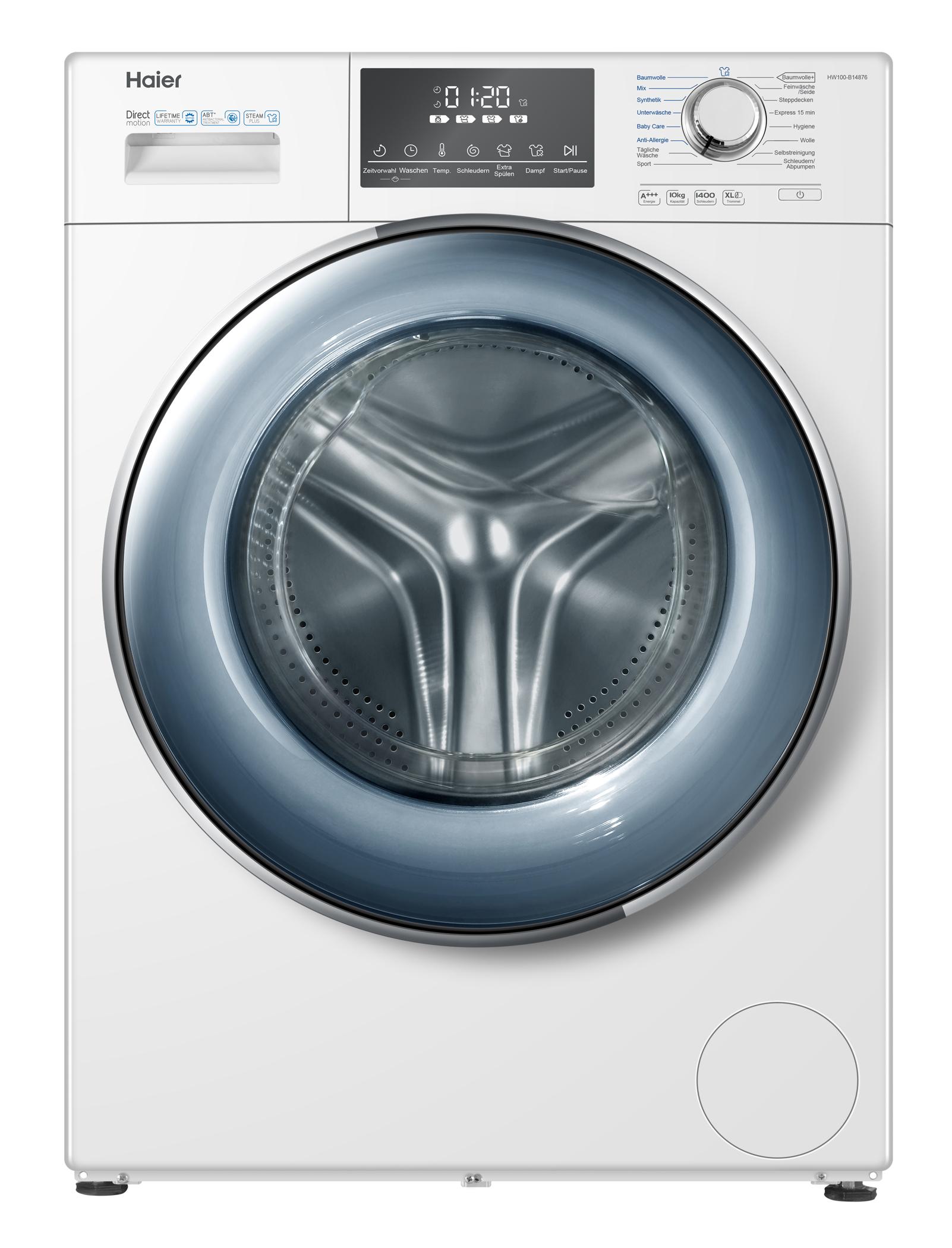 <h1>Haier Waschmaschine HW100-B14876</h1><h3 style='font-size: 20px; margin: 0px 0px 15px 0px;'> -65 dB leise beim Schleudern, 10 kg Fassungsvermögen</h3>