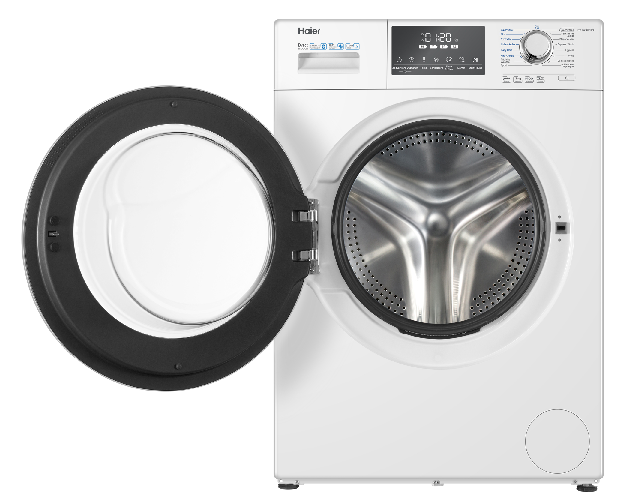 <h1>Haier Waschmaschine HW120-B14876</h1><h3 style='font-size: 20px; margin: 0px 0px 15px 0px;'> -Frontlader, 12 kg Fassungsvermögen, i-Time</h3>