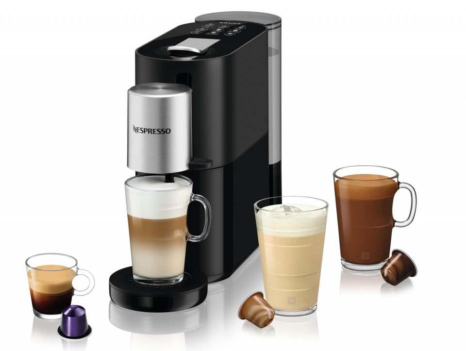 Krups Kaffeemaschine Nespresso Atelier mit In-Cup-Milchaufschäumsystem.