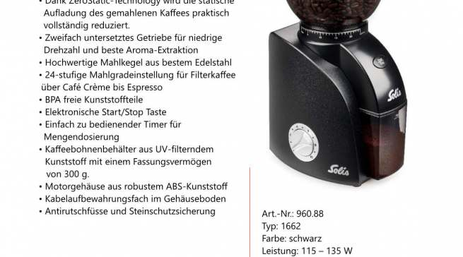 Datenblatt SOLIS Scala ZERO STATIC Kaffeemühle Schwarz