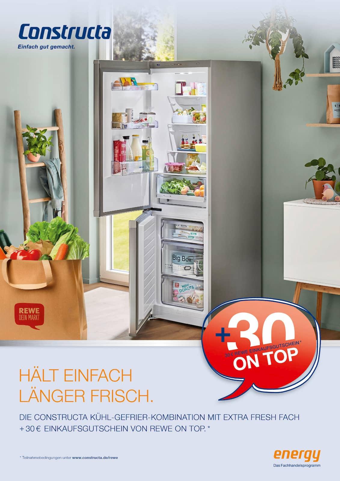 Jubiläumsaktion für den Mittelstandskreis: Constructa Kühl-Gefrier-Kombinationen.