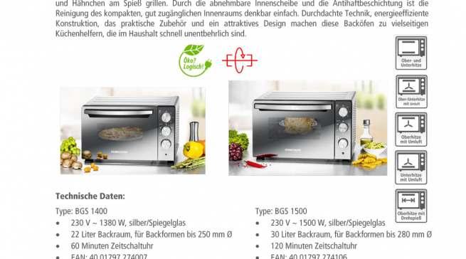 Datenblatt Rommelsbacher Back & Grill Ofen BGS 1400