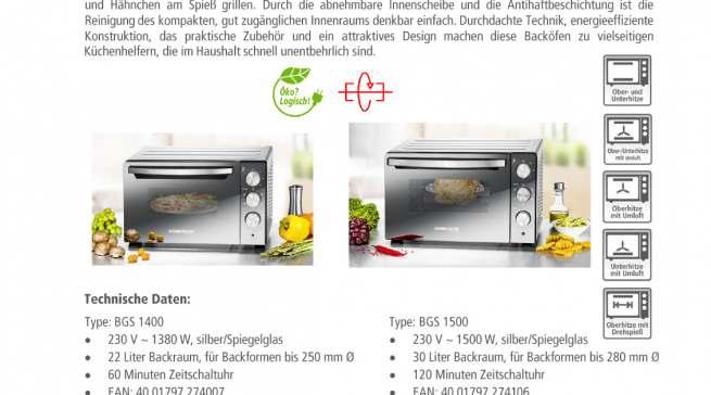 Datenblatt Rommelsbacher Back & Grill Ofen BGS 1500