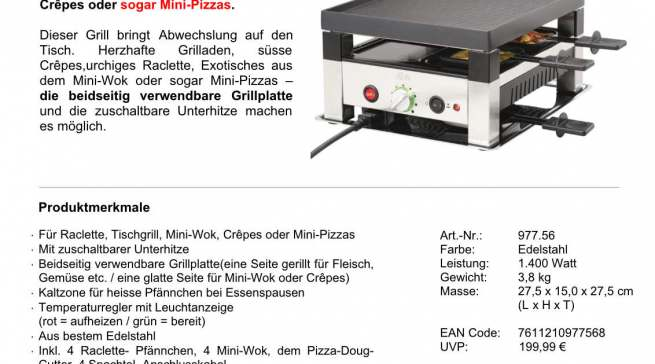 """SOLIS Table Grill """"5 in 1"""" For Four"""