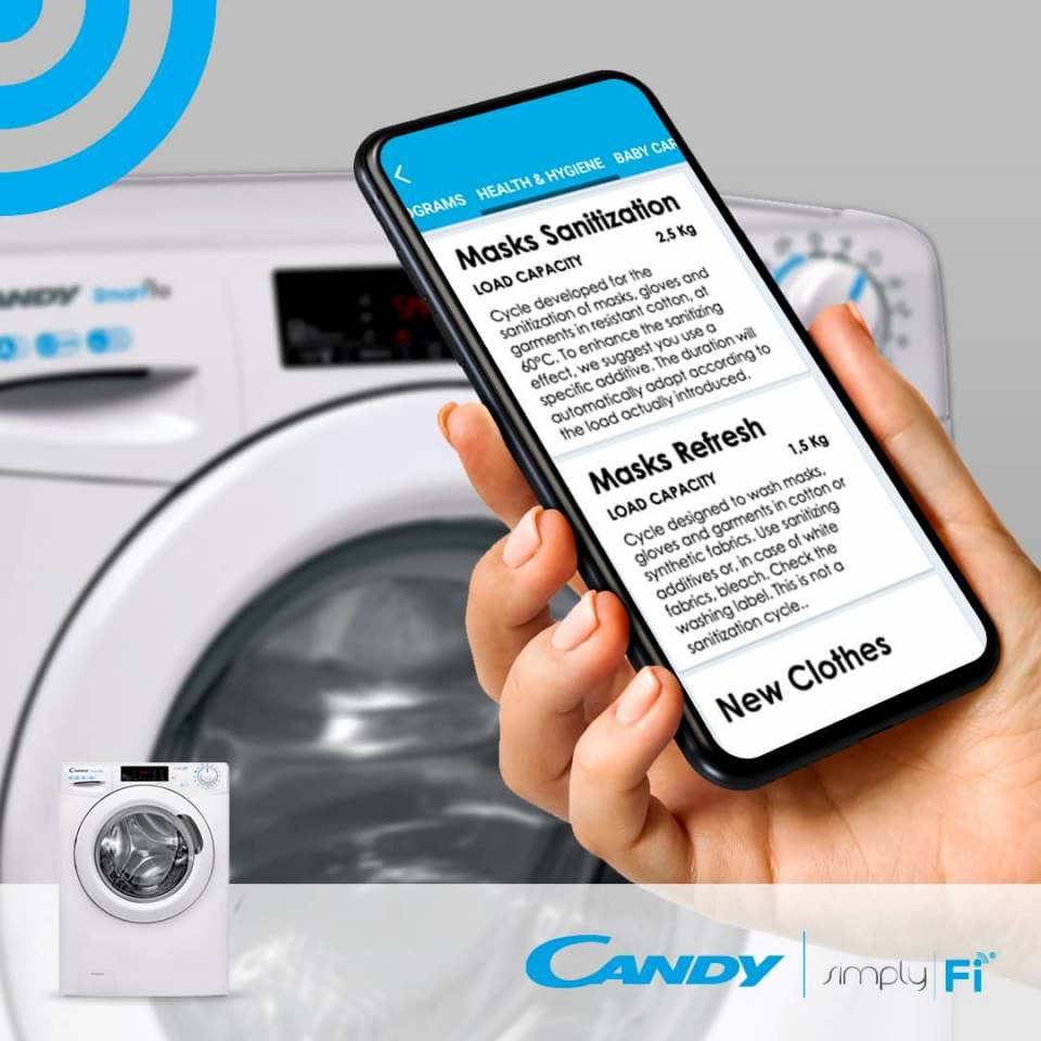 Werden über die App geladen: Candy Waschprogramme zur Reinigung von Mundschutzmasken.