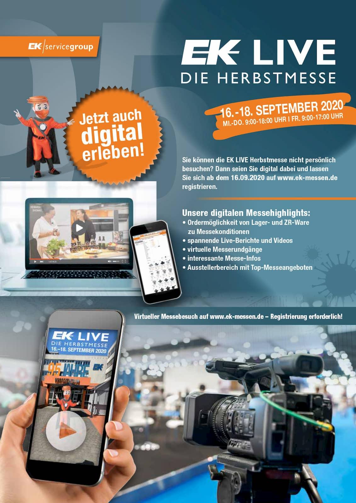Lässt sich Mitte September als Hybridmesse auch digital erleben: die Herbstmesse EK Live der EK/servicegroup.
