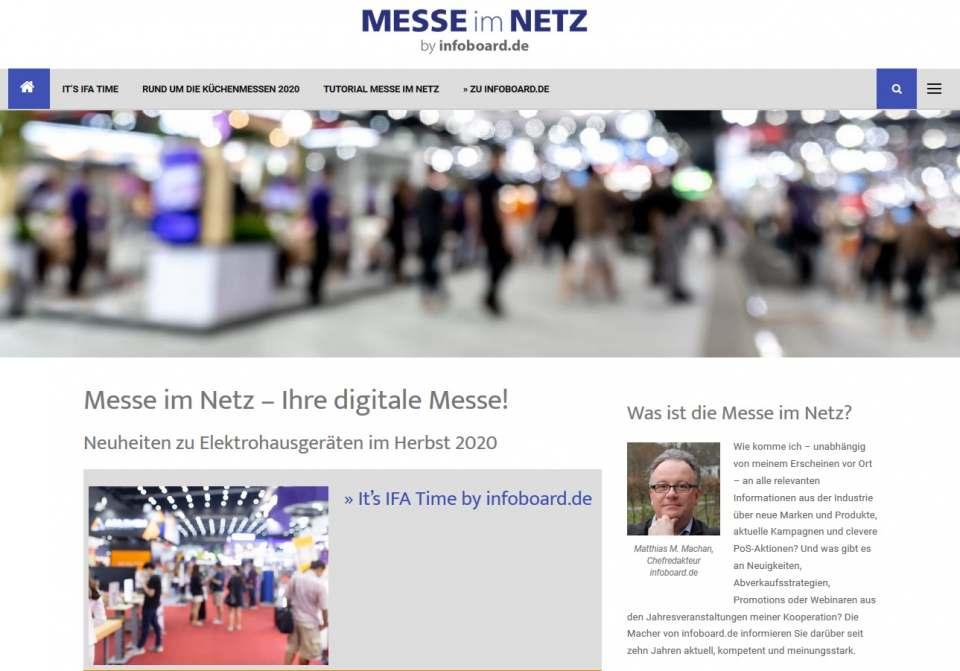 """Die Startseite von der Webseite """"Messe im Netz"""" von Infoboard.de"""