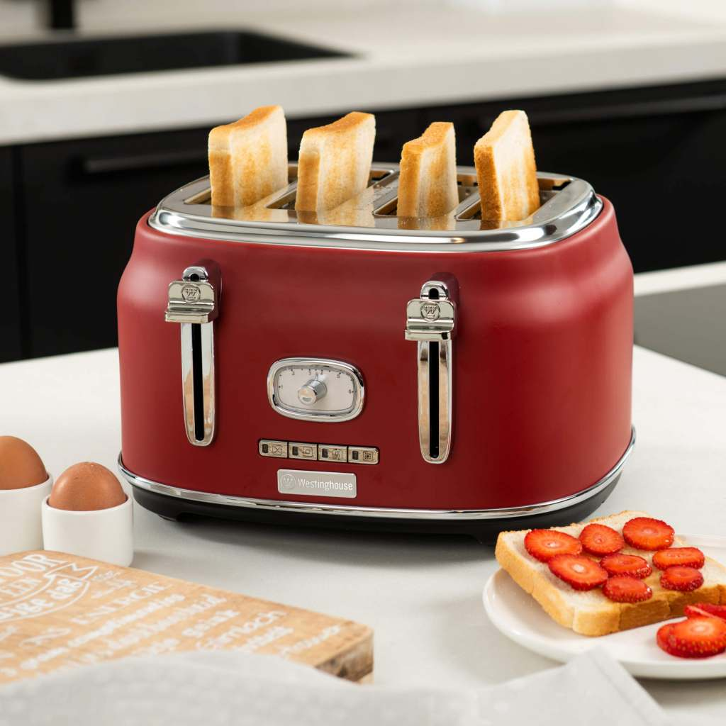 Westinghouse Retroline 4-Schlitz Toaster rot