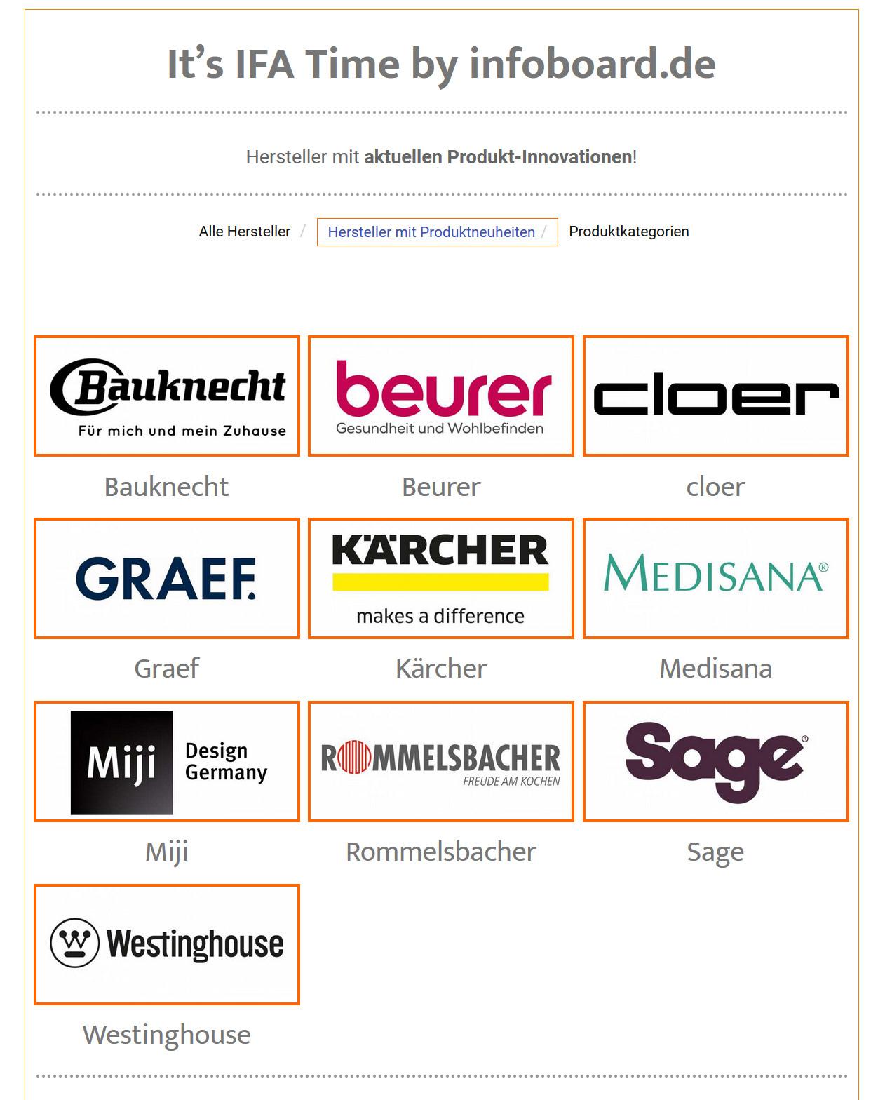Messe im Netz teilnehmende Hersteller bis jetzt