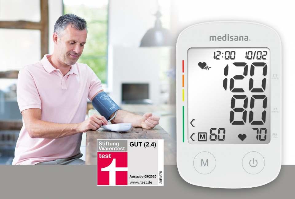 """""""gut"""" von der Stiftung Warentest für das Medisana Blutdruckmessgerät BU 535."""