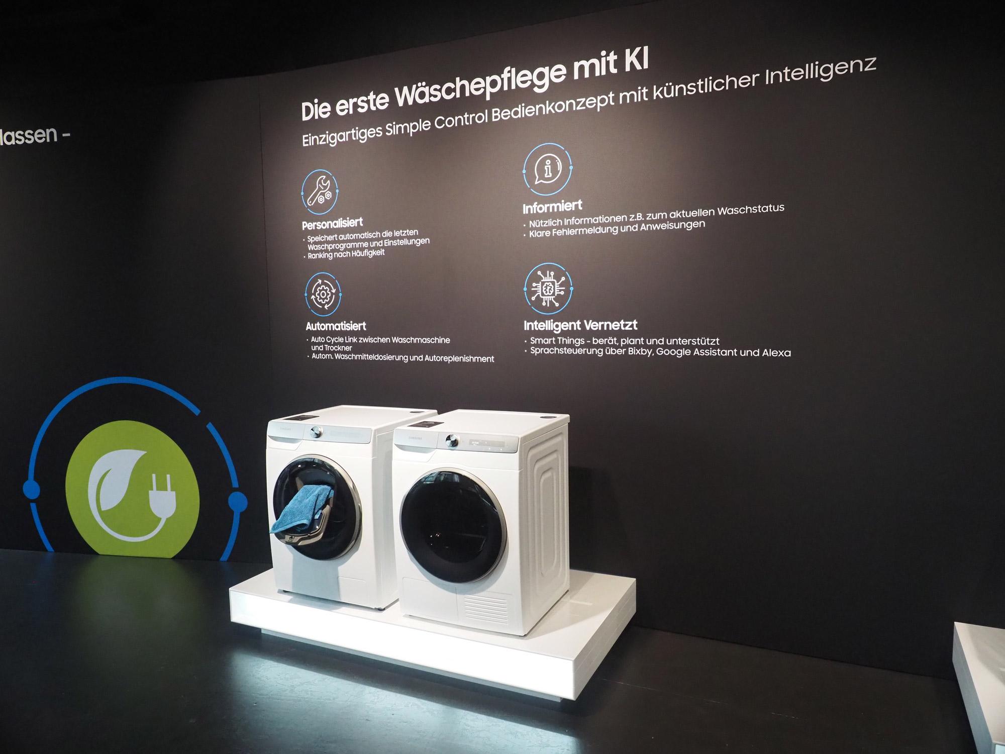 Intelligente Wäschepflege: Das neue Samsung Line-up aus Waschmaschinen und Trocknern ist mit künstlichen Intelligenz ausgestattet, die dem Nutzer komplizierte Einstellungen abnehmen soll.