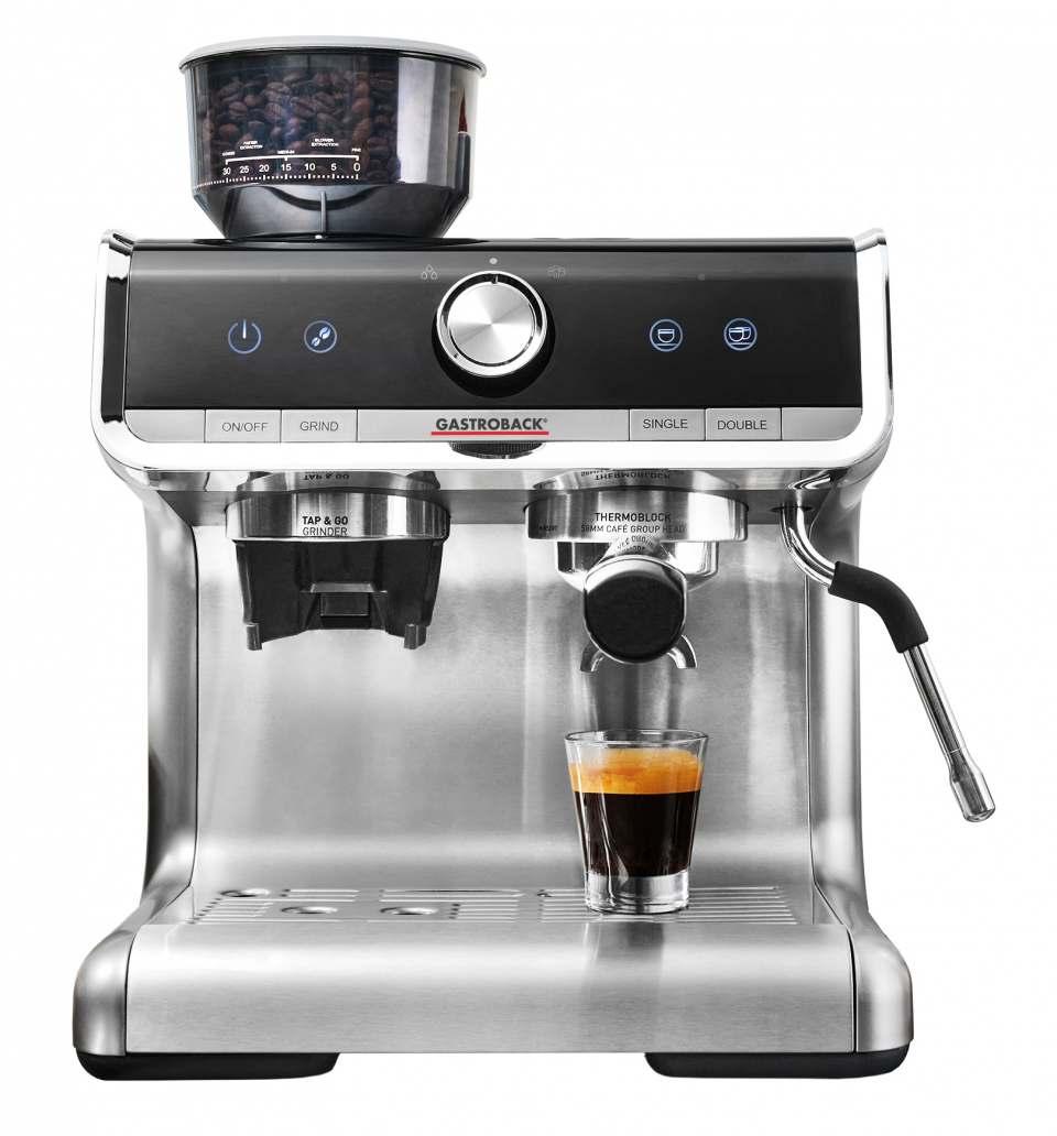 Gastroback Espressomaschine Design Espresso Barista Pro mit Kegelmahlwerk.