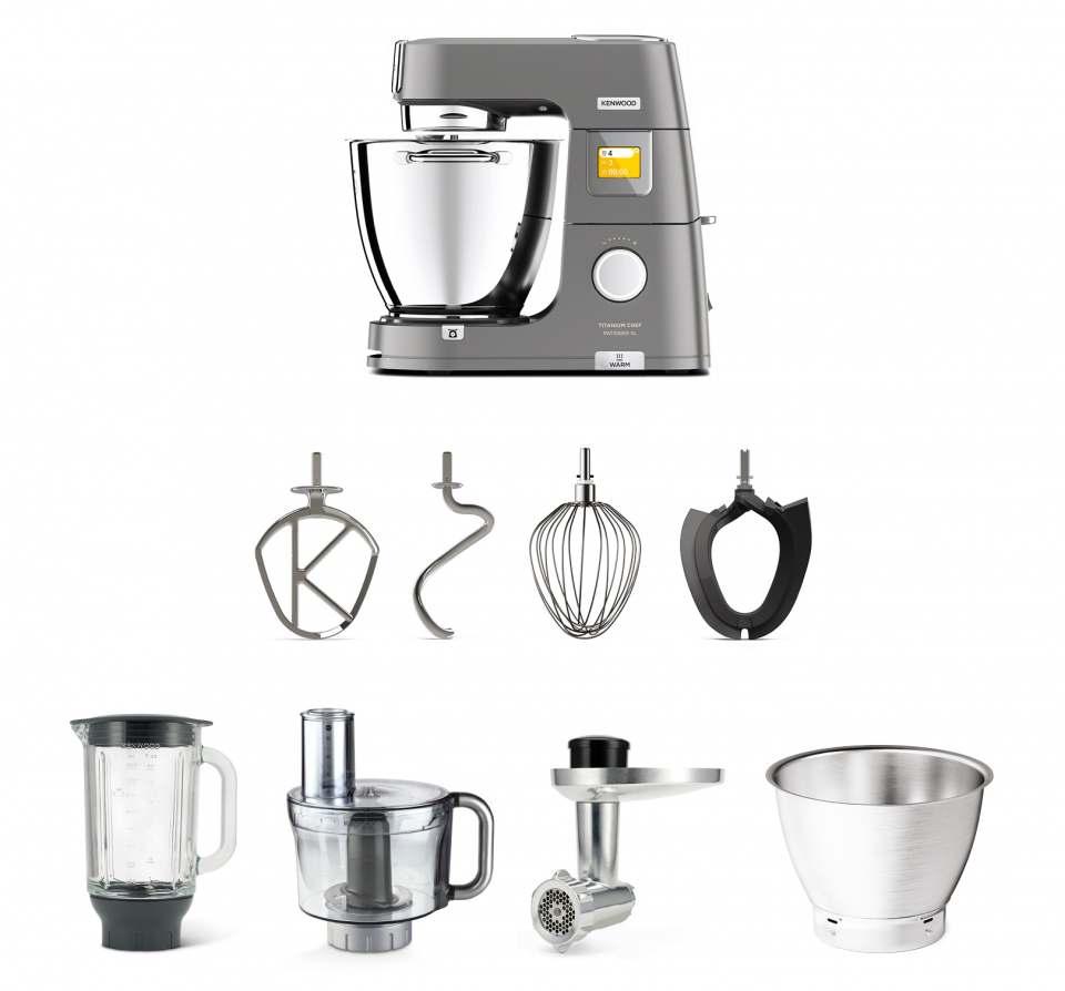 Kenwood Küchenmaschine Titanium Chef Patissier XL mit unterschiedlichen Zubehörsets.