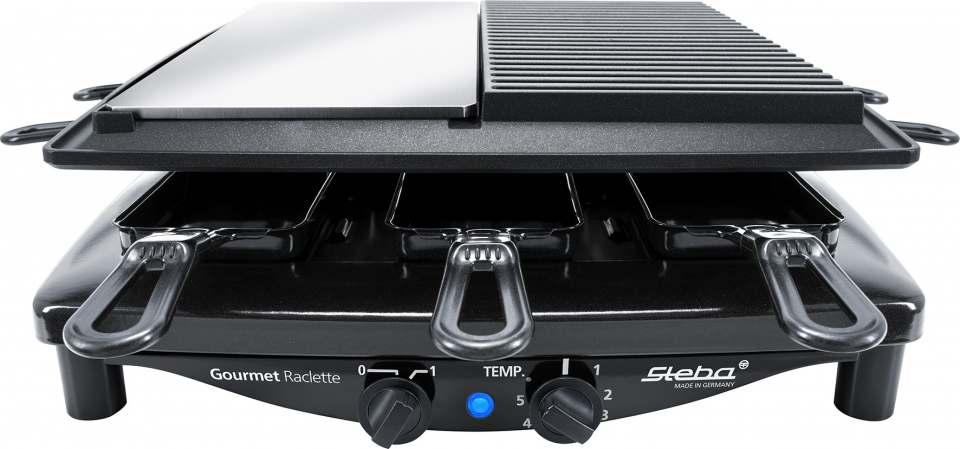 Steba Raclette RC 8 Black Steel mit 8 emaillierten Pfännchen.