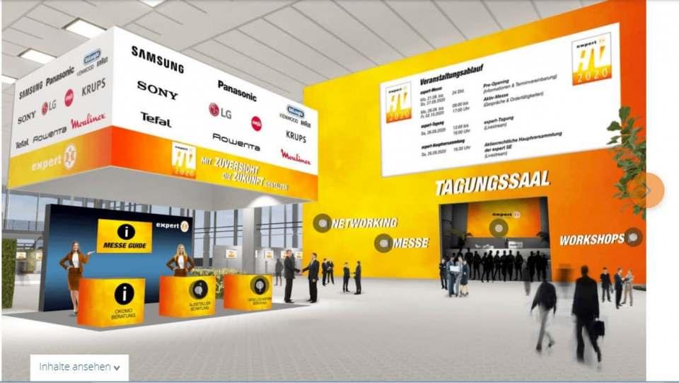 """Das Look & Feel einer """"echten"""" Messe: die virtuelle Veranstaltungsplattform der expert-Hauptversammlung 2020. Fotos: expert"""