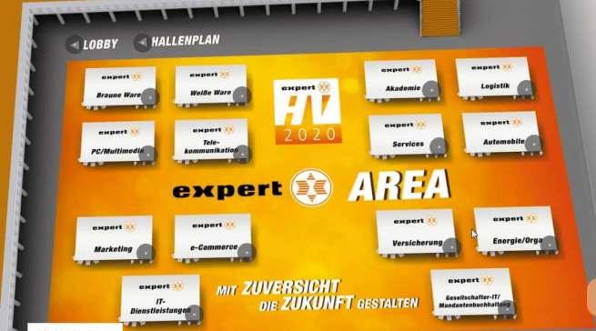 Der Hallenplan der virtuellen expert-Area: insgesamt waren 138 Aussteller am Start.