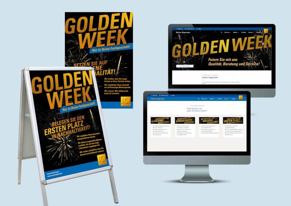 """Aufmerksamkeitsstark: Mit goldener Schrift gestaltete Poster für die """"Golden Week""""."""