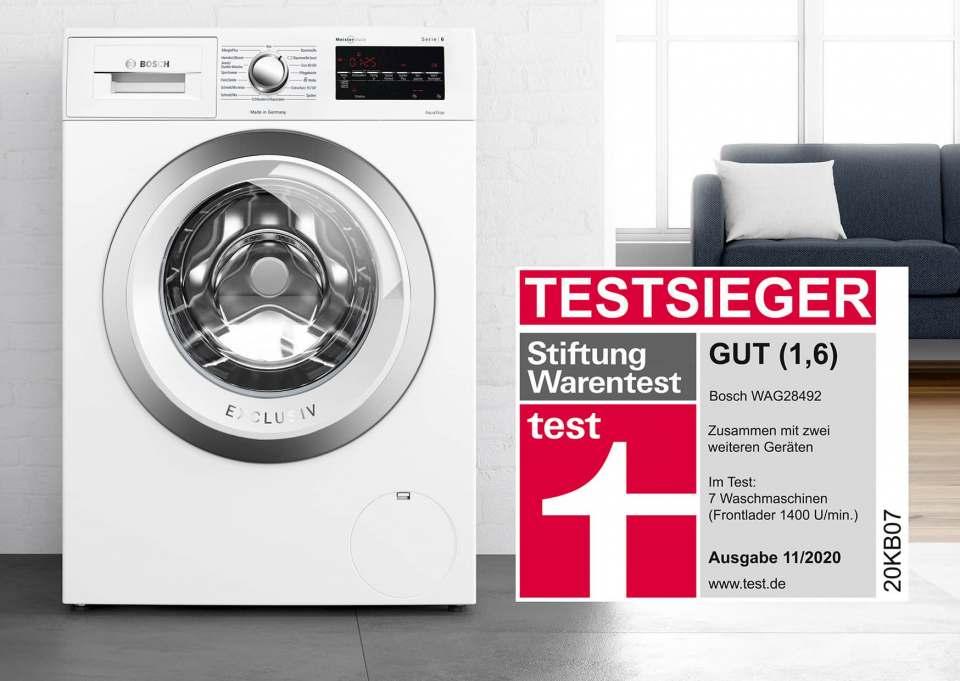 Testsieger bei der Stiftung Warentest: Bosch Waschmaschine WAG28492 (baugleich mit Siemens WM 14G492) und Miele WWD 320 WPS. Schneidet gut bei der Stiftung Warentest ab: AEG Waschmaschine L7FE77485.