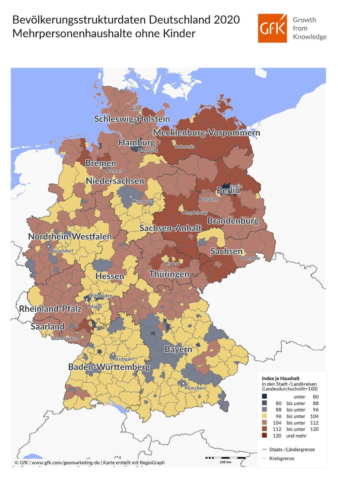 Bevölkerungsstrukturdaten Deutschland 2020 Mehrpersonenhaushalte ohne Kinder