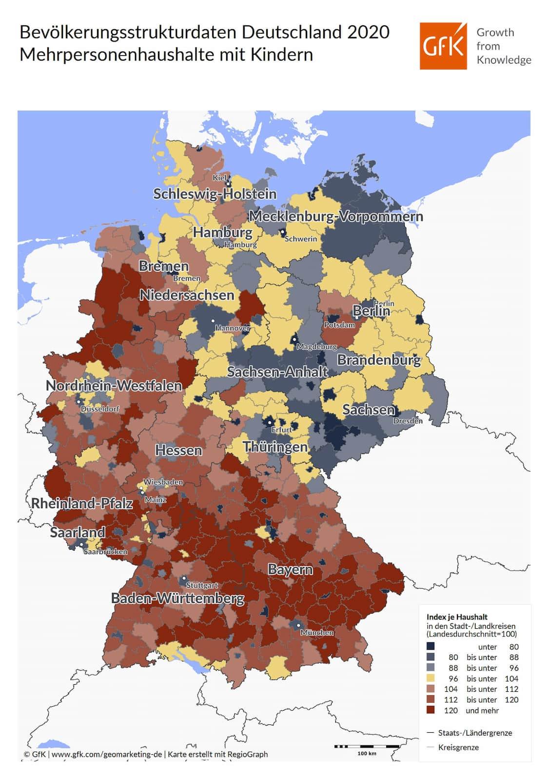 Bevölkerungsstrukturdaten Deutschland 2020 Mehrpersonenhaushalte mit Kinder