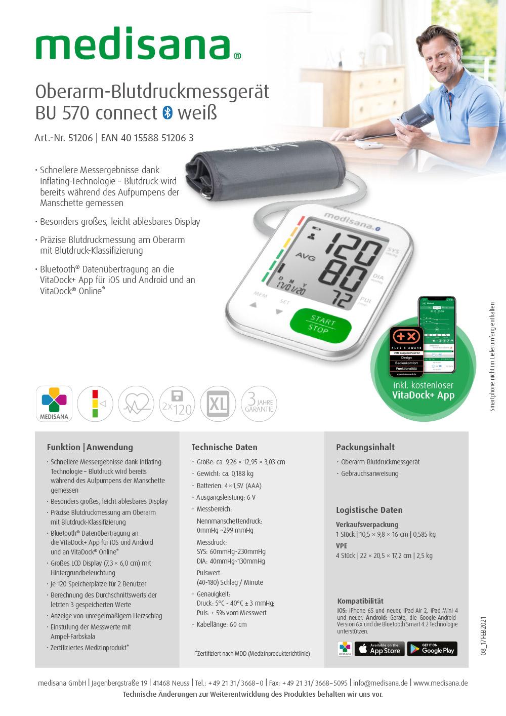 PB Oberarm-Blutdruckmessgerät BU 570 connect