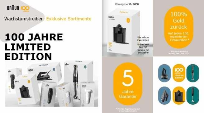 Das Jahr 2021 steht bei Braun ganz im Zeichen des 100-jährigen Firmenjubiläums. Zu den Geburtstagsgeschenken zählt u.a. eine Limited Edition mit Produkt-Klassikern.