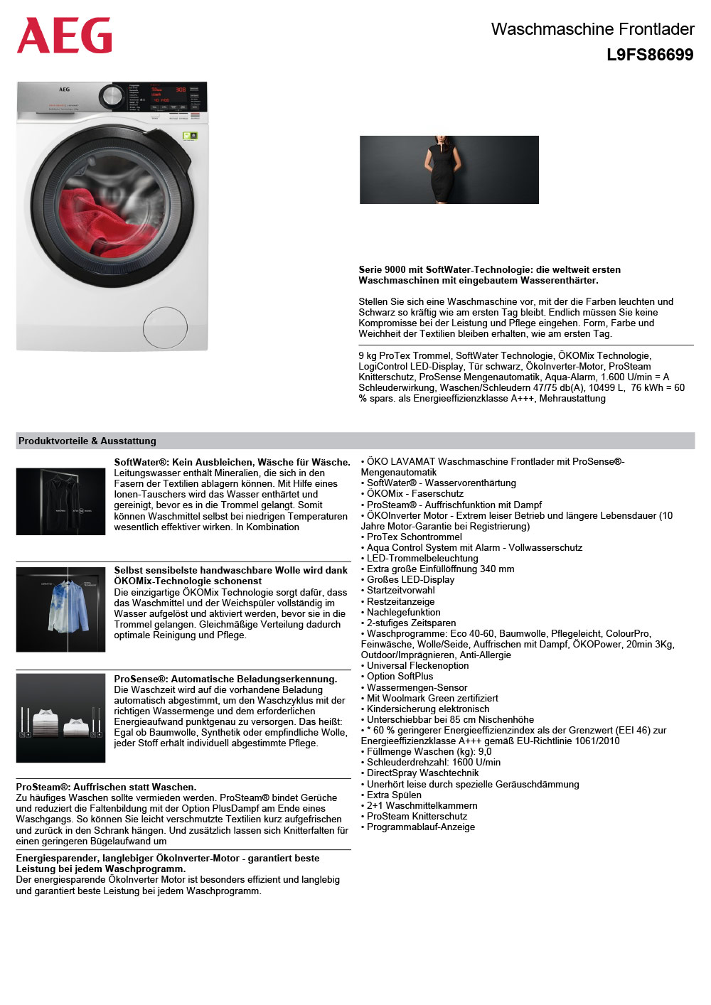 Datasheet AEG L9FS86699 Waschmaschine