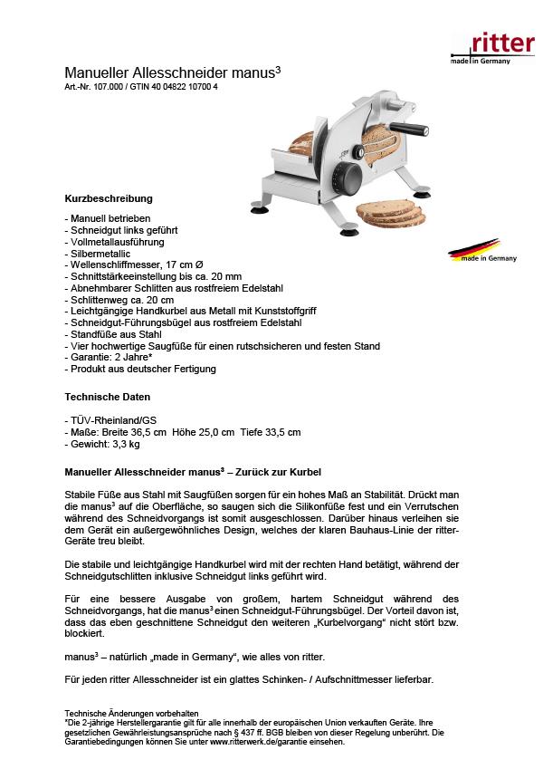 Produktblatt Ritter Manus 3