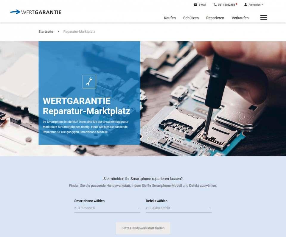 """Umgezogen: """"clickrepair"""" auf der Website von Wertgarantie."""