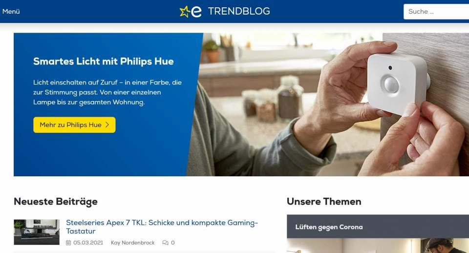 Euronics-Trendblog ist spitze: Platz 2 von 2.000.
