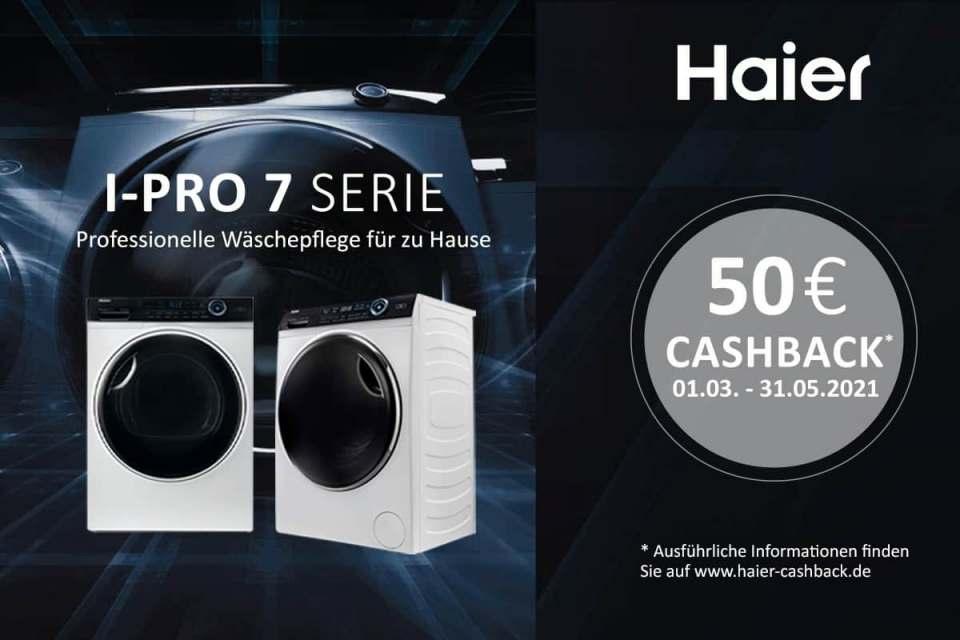 Geld zurück für ausgewählte Waschmaschinen von Haier.