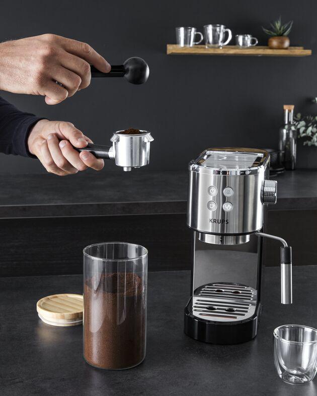 Krups Espressomaschine Virtuoso für gemahlenem Kaffee oder Pad.