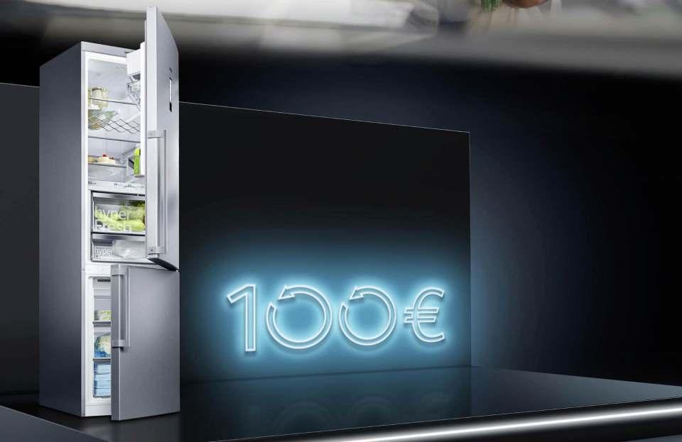 Frühlingsaktion bei Siemens: Bis zu 100 Euro Cashback auf Kühlgeräte.