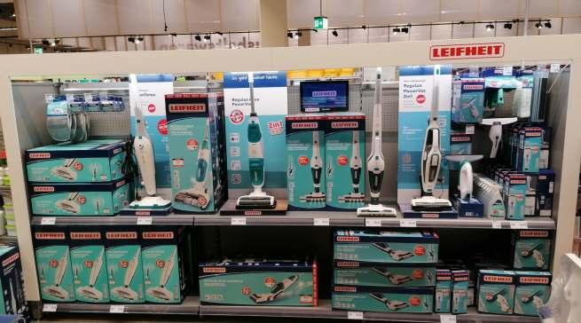 Aufmerksamkeitsstark im Handel platziert: Leifheit ist seit fast sechs Jahrzehnten eine der führenden Marken für Haushaltsprodukte in Deutschland.