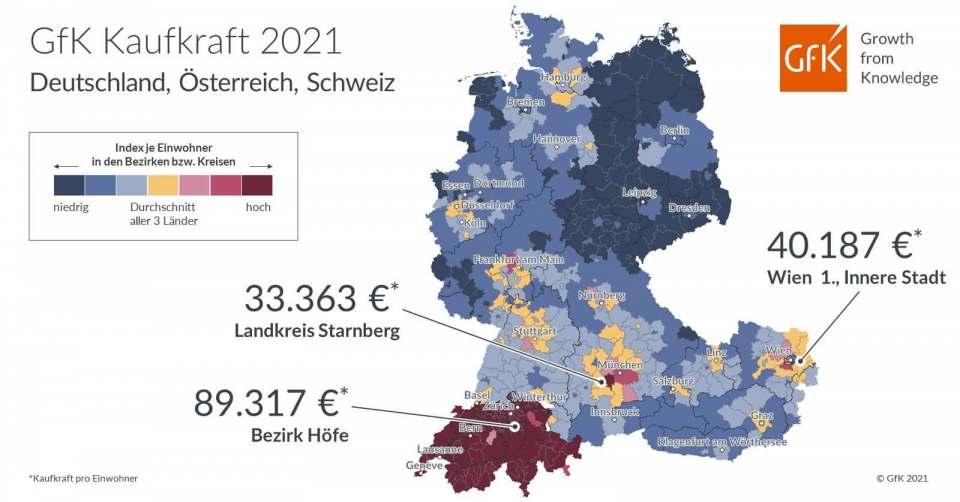 Im deutschsprachigen Raum schwankt das Nettoeinkommen erheblich.
