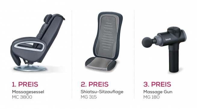 Zu gewinnen gibt es einen Massagesessel MC 3800, eine Shiatsu-Sitzauflage MG 315 und die Massage Gun MG 180.