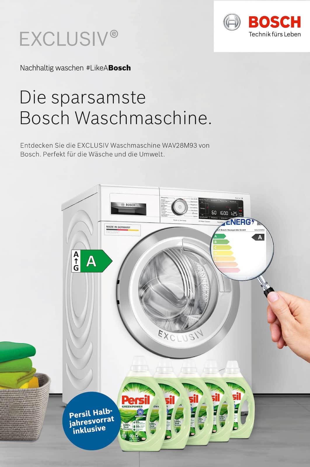 Neues Energielabel, neue Bosch Waschmaschine plus Waschmittel.