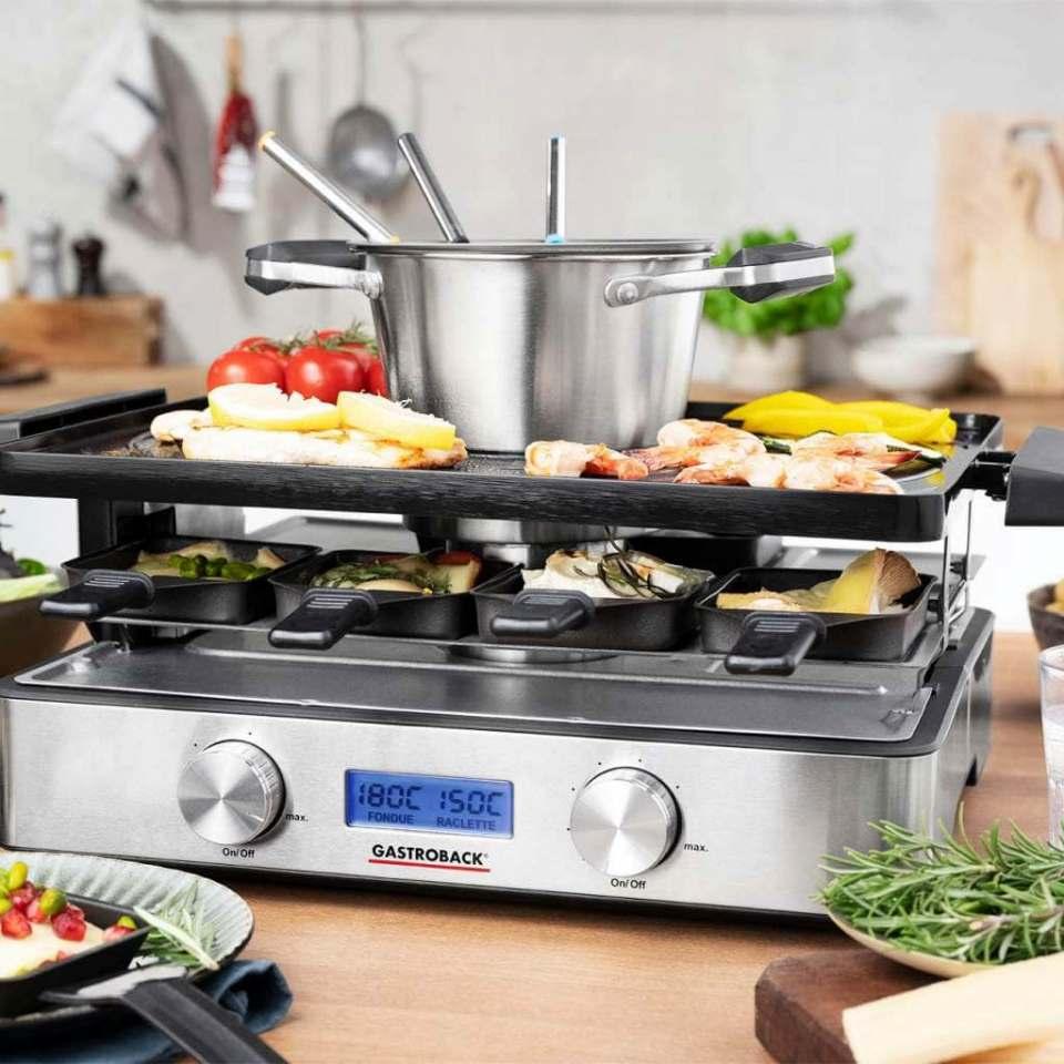 Ohne Rauch und unangenehme Gerüche: Gastroback Design Raclette-Fondue Advanced Plus.