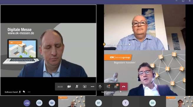 Im digitalen Messe-Austausch anlässlich der EK live im Januar: Daniel Kullmann (links), Vorstandsvorsitzender Franz-Josef Hasebrink (unten rechts) und infoboard.de-Chefredakteur Matthias M. Machan (oben rechts).