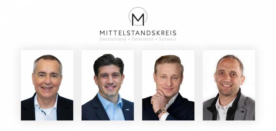 Der Mittelstandskreis ist nun auch in der Schweiz aktiv. Dirk Wittmer und Sebastian Allert (Deutschland), David Haefeli (Schweiz), Volker Meier (Österreich).