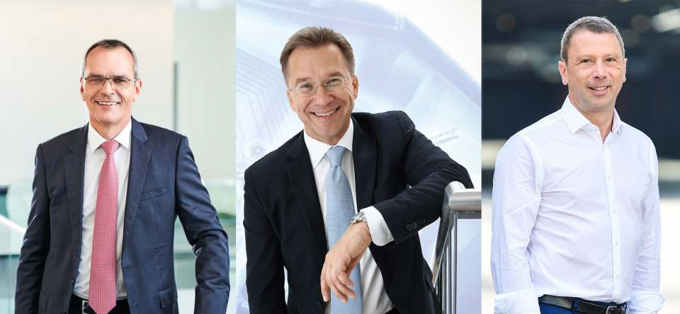 von links: Dr. Stefan Müller, Vorstandsvorsitzender expert SE, Benedict Kober, Vorstandssprecher Euronics Deutschland, Jens Heithecker, Executive Vice President Messe Berlin Group & IFA Executive Director