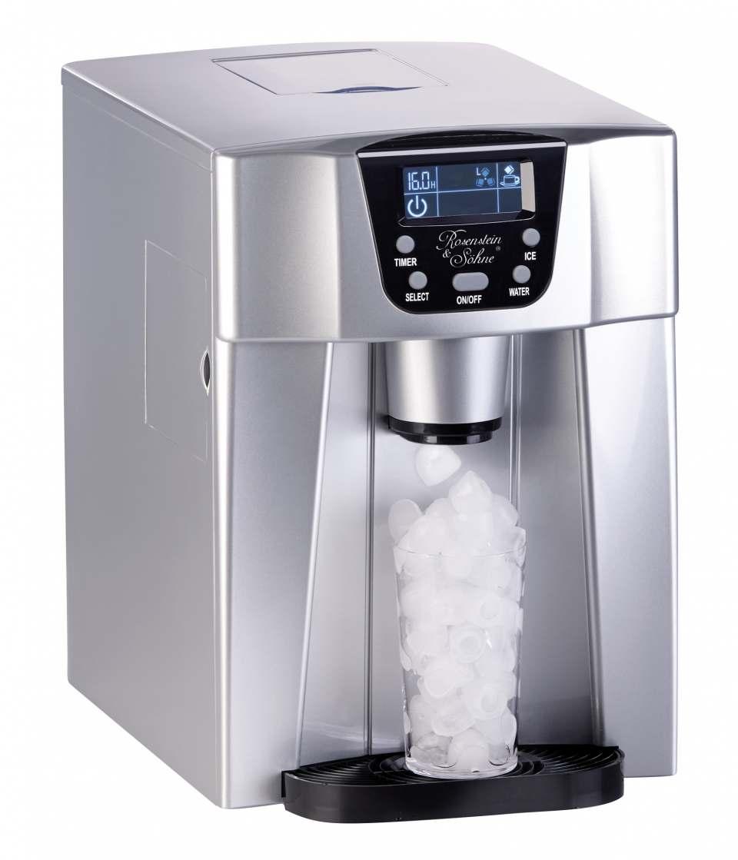 Rosenstein & Söhne Eiswürfelmaschine EWS-2200 mit Kaltwasserspender.