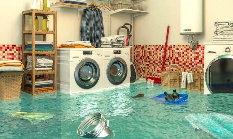 Waschkeller unter Wasser