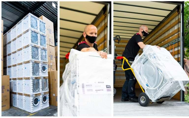 Katastrophenhilfe BSH: Unter anderem 500 Waschmaschinen für die Johanniter-Unfall-Hilfe.
